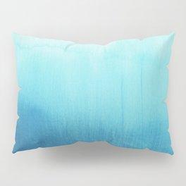 Modern teal sky blue paint watercolor brushstrokes pattern Pillow Sham