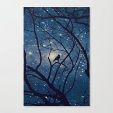 Moon light Crow Canvas Print