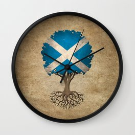 Vintage Tree of Life with Flag of Scotland Wall Clock