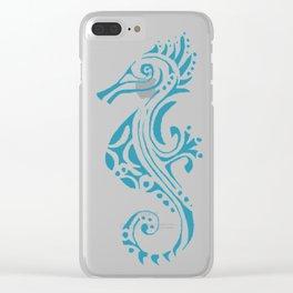 Seahorse tatoo blue Clear iPhone Case