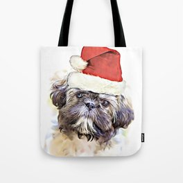 Christmas Shih Tzu puppy Tote Bag