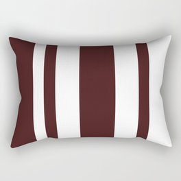 Mixed Vertical Stripes - White and Dark Sienna Brown Rectangular Pillow