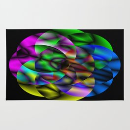 Concentric Vibrancy - Abstract, neon, geometry artwork Rug