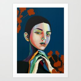Girl and flowers Art Print