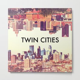 Twin Cities Skylines-Minneapolis and Saint Paul Minnesota Metal Print
