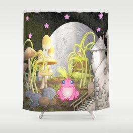 Whimsy Land with Pink Frog Shower Curtain