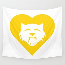 Wildcat Mascot Cares Yellow Wall Tapestry