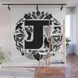 Letter J monogram wildwood Wall Mural