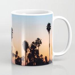 California Palm Tree Silhouette Sunset Reflection (teal and orange) Coffee Mug