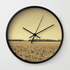 Lonely Field in Brown Wall Clock