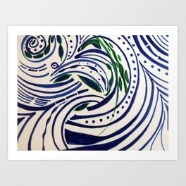 Water Flowing Plant Art Print