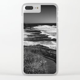 Seascape Ecola State Park State Park in Black and White Clear iPhone Case