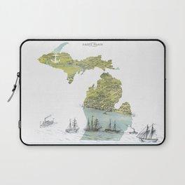 Ships Along the Shore - Michigan circa 1868 Laptop Sleeve