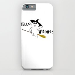 Hallo Witches Halloween I Love Halloween Ghost Black Writing iPhone Case