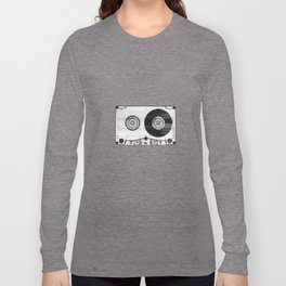 Vintage 80's Cassette - Black and White Retro Eighties Technology Art Print Wall Decor from 1980's Long Sleeve T-shirt