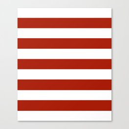 Rufous - solid color - white stripes pattern Canvas Print