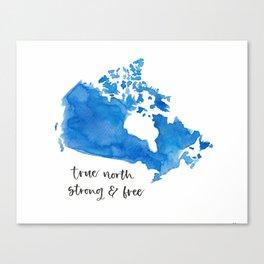 Blue Watercolour Canada Map Canvas Print