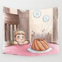 shingeki no kyojin Wall Tapestries featuring Jean Kirschstein & cake by CaptBexx