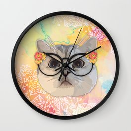 Cat with flower glasses Wall Clock