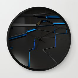 Black fractured surface with blue glowing lines Wall Clock