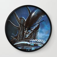 alien Wall Clocks featuring Alien by Tom C Carlton