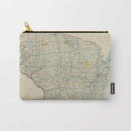 Vintage Map of Wisconsin (1895) Carry-All Pouch