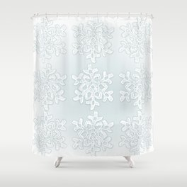 Crocheted Snowflake Ornaments on teal mist Shower Curtain