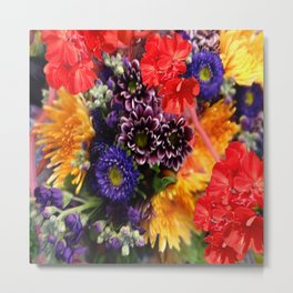 red geraniums flowers floral bouquet Metal Print
