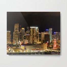 City of Miami at Night Metal Print