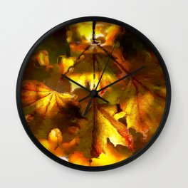 Sun kissed Sycamore leaves Wall Clock