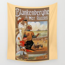 1890s Blankenberge North Sea beach travel Wall Tapestry