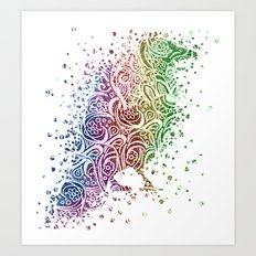 A Crow of Lace and Color Art Print