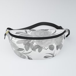 Mauve gray white hand painted watercolor roses floral Fanny Pack