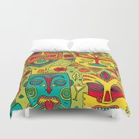 tiki Duvet Covers featuring Tiki tiki by Binnyboo