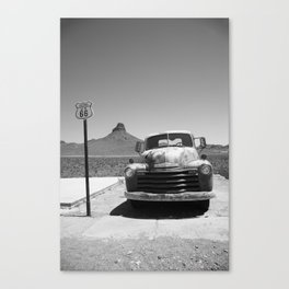 Route 66 - Old Pickup and Shield 2012 Canvas Print