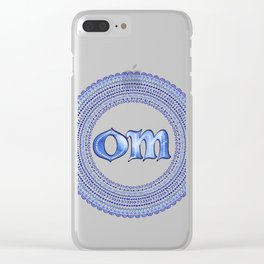 Blue Om Clear iPhone Case
