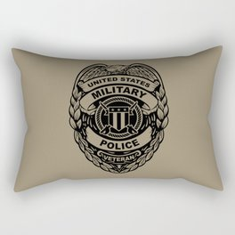 U.S. Military Police Veteran Security Force Badge, Black Line Art Rectangular Pillow