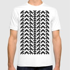 Geometric Chevrons Mens Fitted Tee MEDIUM White