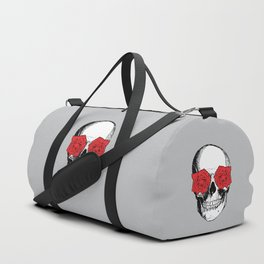 Skull and Roses | Skull and Flowers | Vintage Skull | Grey and Red | Duffle Bag