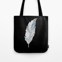 Bird Feather on Black Tote Bag