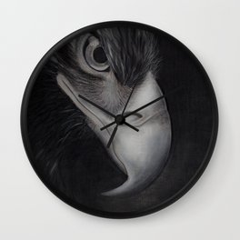 'GAZE' - Wedge Tail Eagle, original artwork in Charcoal & Pastel Wall Clock