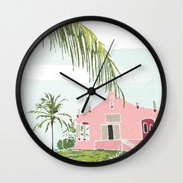 Rowdy's Pink Beach Bar in the Bahamas Wall Clock