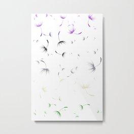 Dandelion Seeds Genderqueer Pride (white background) Metal Print