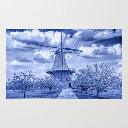 Delft Blue Dutch Windmill Rug