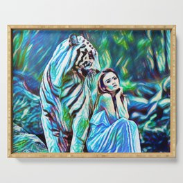 Beauty And The White Tiger | Fantasy Art - Painting Serving Tray