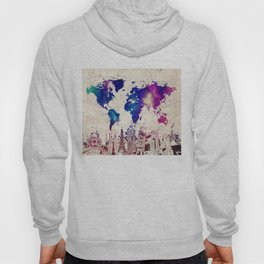 world map city skyline galaxy 2 Hoody