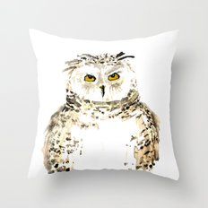 Snowy Owl watercolor Throw Pillow