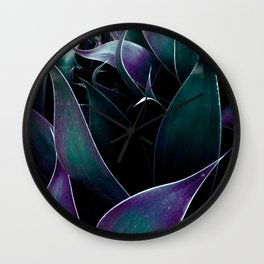 Deep Purple Teal Abstract Leaves Wall Clock