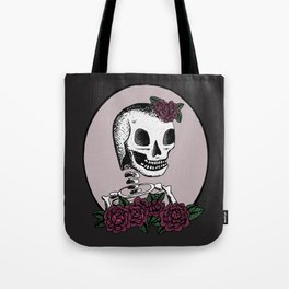 Skull Girl with Flowers Tote Bag