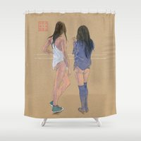 """converse Shower Curtains featuring """"Do you feel a draft?"""" by Bryan James"""